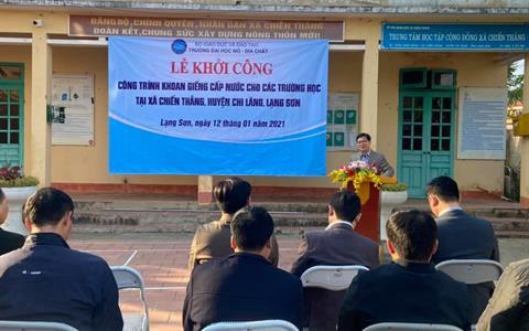 Trường Đại học Mỏ - Địa chất khởi công công trình Hệ thống cấp nước sạch, trao tặng xã Chiến thắng – huyện Chi Lăng – tỉnh Lạng Sơn